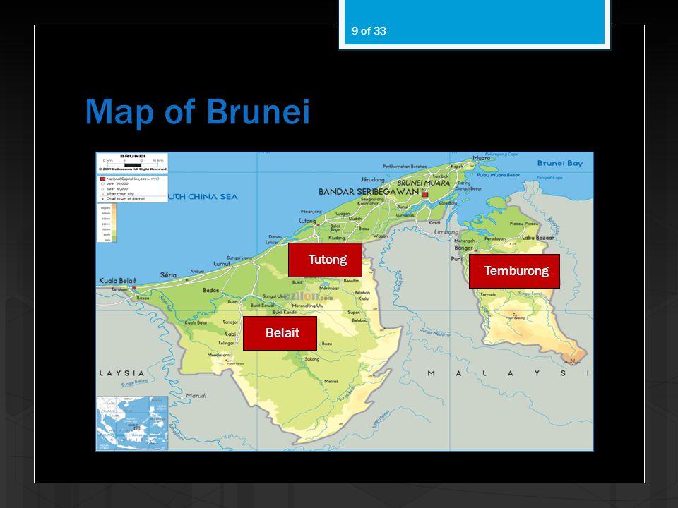 Map of Brunei Tutong Temburong Belait