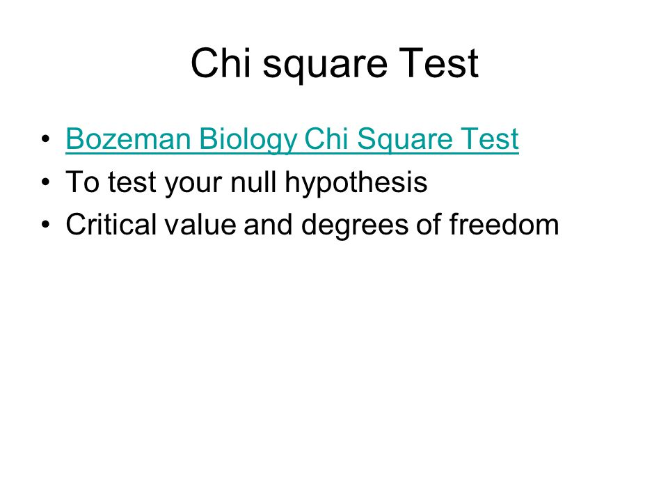 Chi square Test Bozeman Biology Chi Square Test