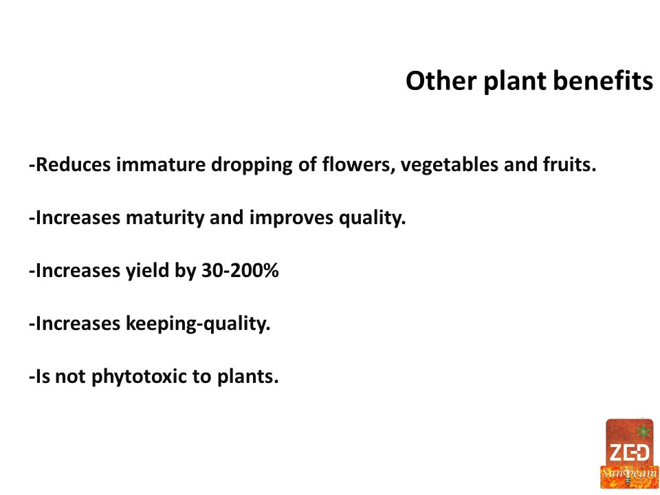 Other plant benefits -Reduces immature dropping of flowers, vegetables and fruits. -Increases maturity and improves quality.