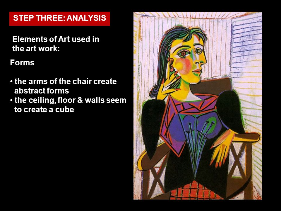 STEP THREE: ANALYSIS Elements of Art used in the art work: Forms. the arms of the chair create abstract forms.