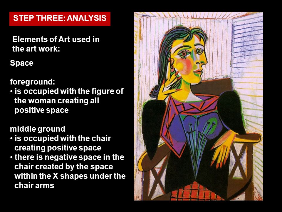 STEP THREE: ANALYSIS Elements of Art used in the art work: Space. foreground: