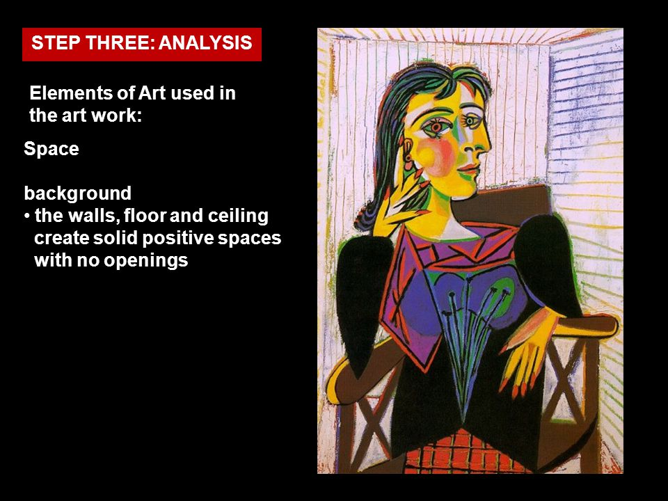 STEP THREE: ANALYSIS Elements of Art used in the art work: Space. background.