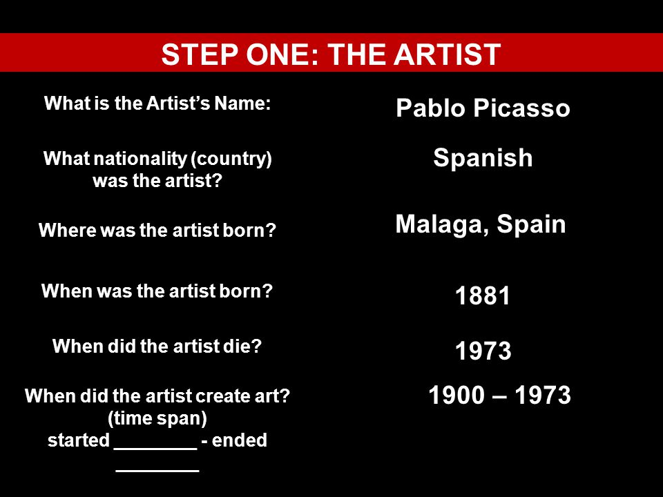 STEP ONE: THE ARTIST Pablo Picasso Spanish Malaga, Spain 1881 1973