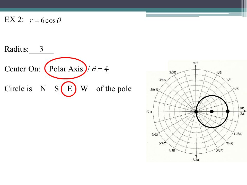 EX 2: Radius:______ Center On: Polar Axis / Circle is N S E W of the pole 3