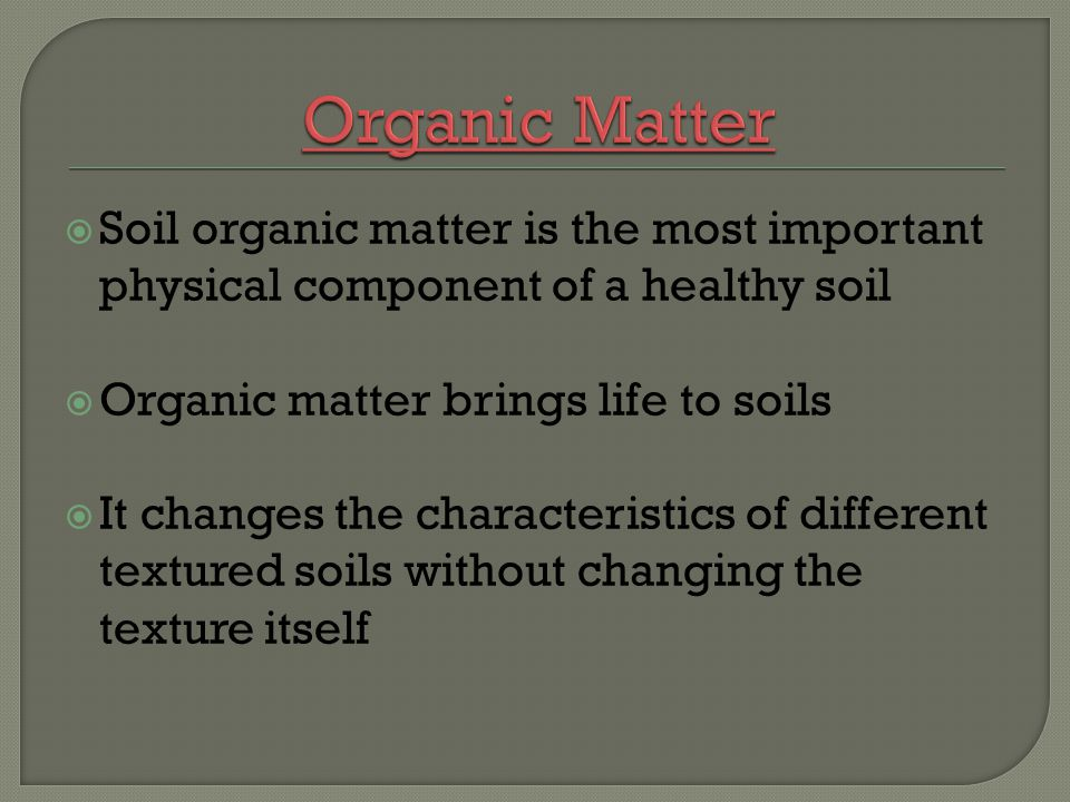 Organic Matter Soil organic matter is the most important physical component of a healthy soil. Organic matter brings life to soils.