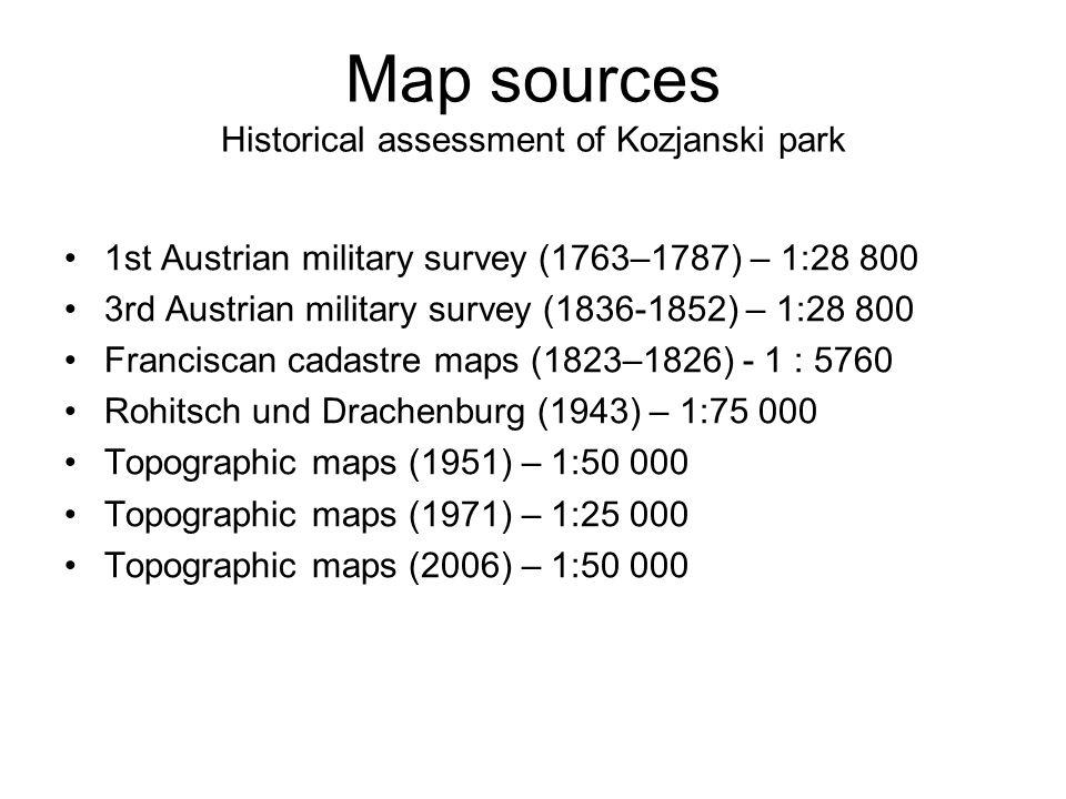 Map sources Historical assessment of Kozjanski park
