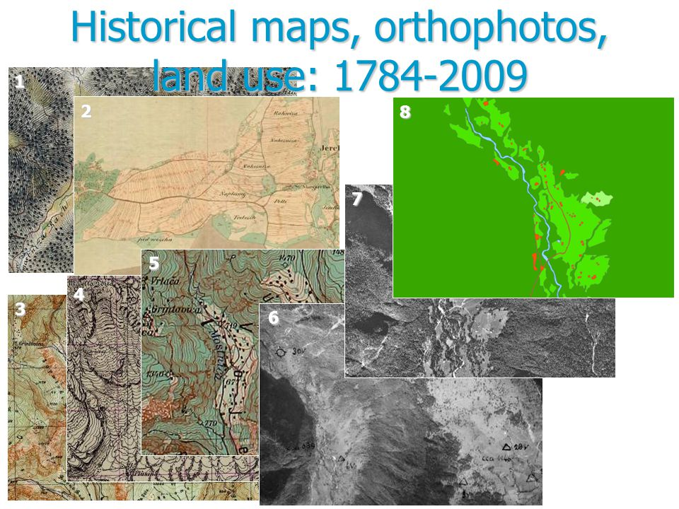 Historical maps, orthophotos, land use: