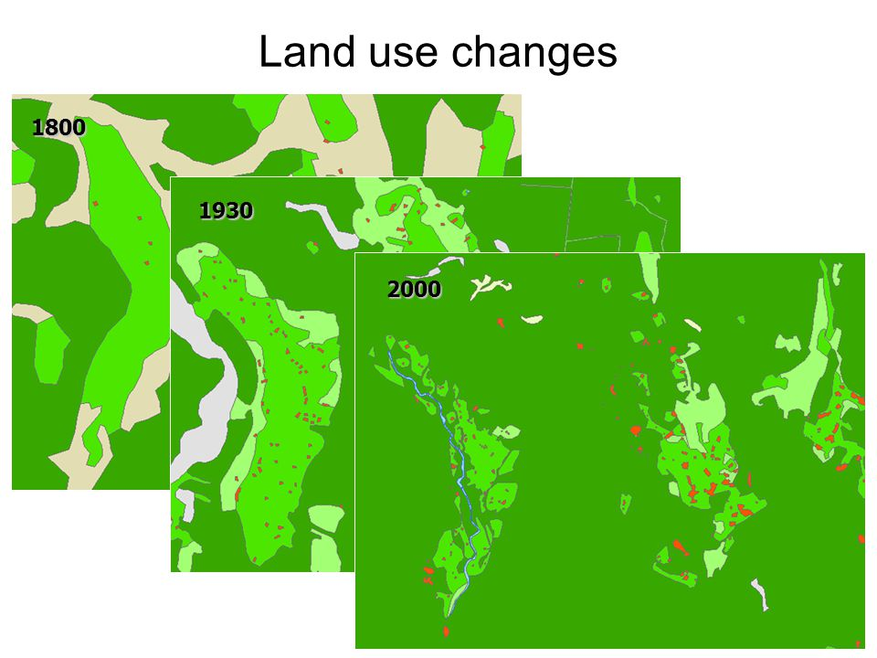 Land use changes 1800 1930 2000