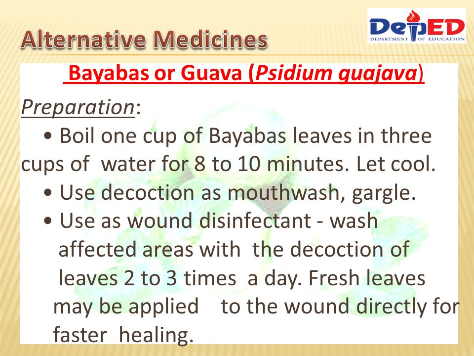 Kaymito leaves decoction as antiseptic mouthwash