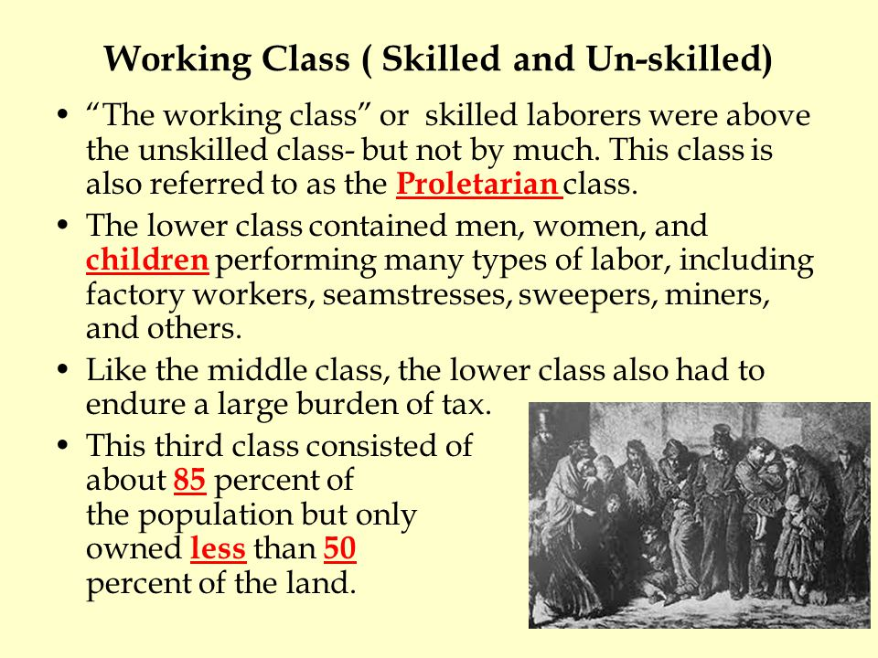Working Class ( Skilled and Un-skilled)