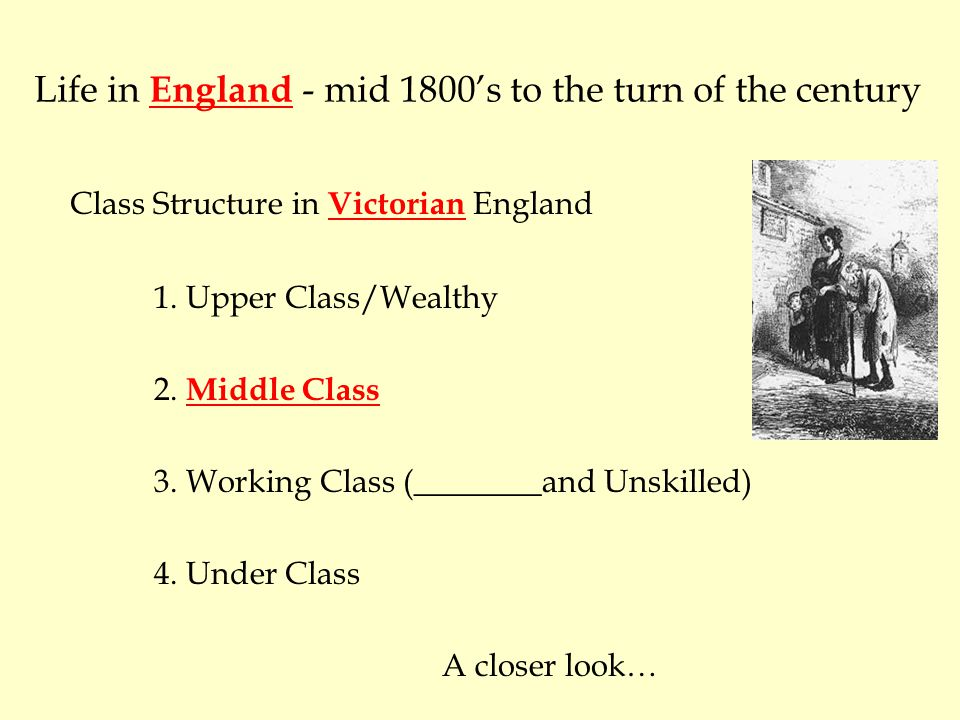 Life in England - mid 1800's to the turn of the century