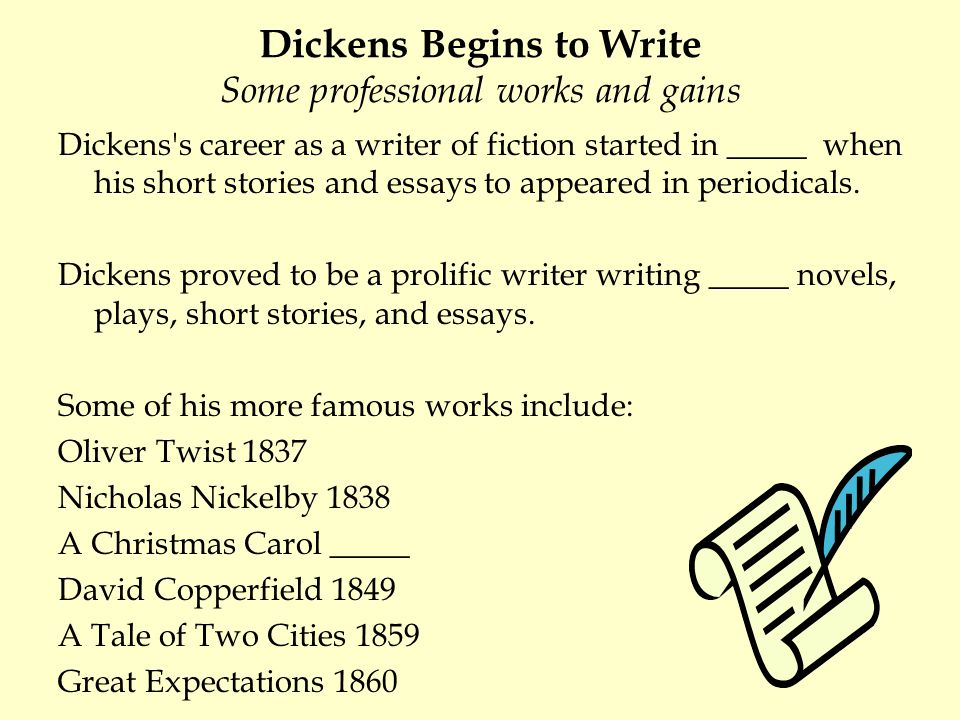 Dickens Begins to Write Some professional works and gains