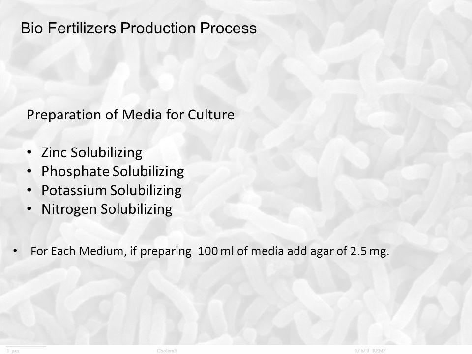 Bio Fertilizers Production Process