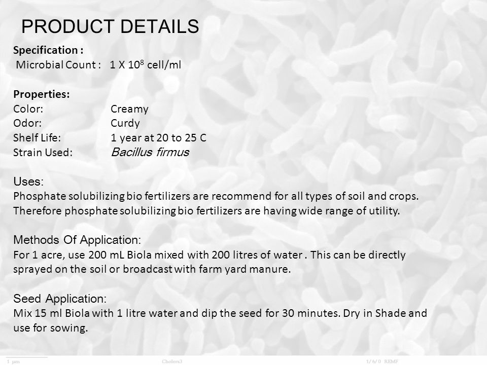 PRODUCT DETAILS Specification : Microbial Count : 1 X 108 cell/ml