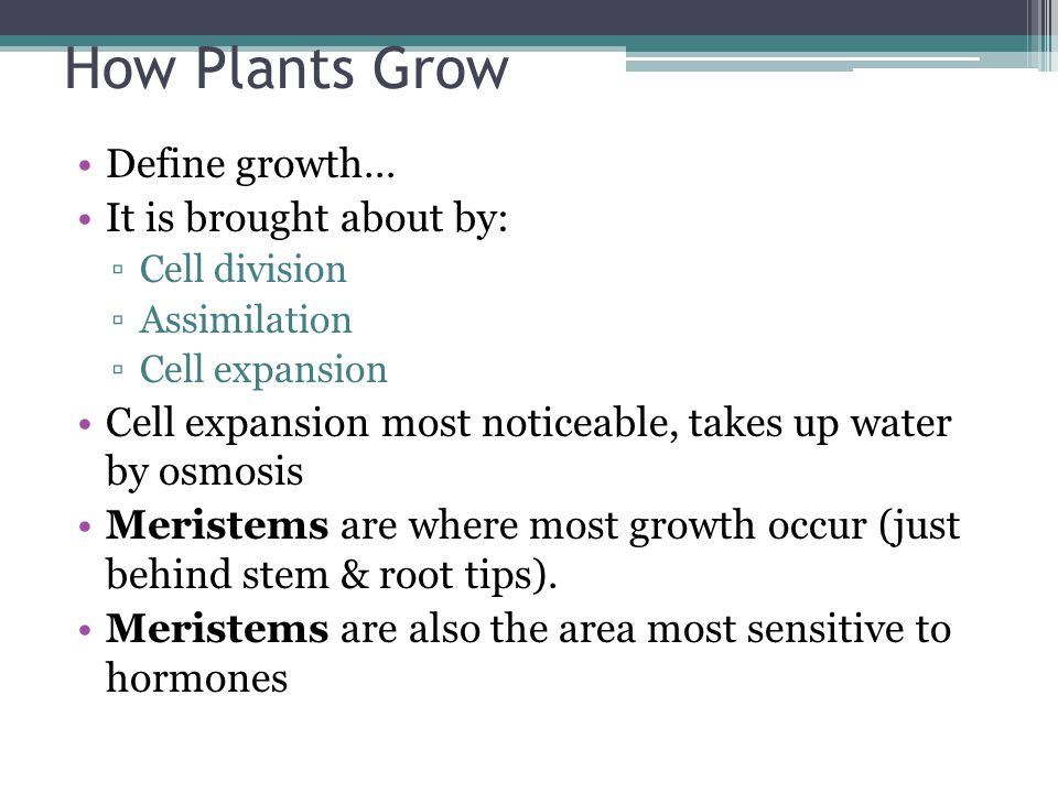 How Plants Grow Define growth… It is brought about by: