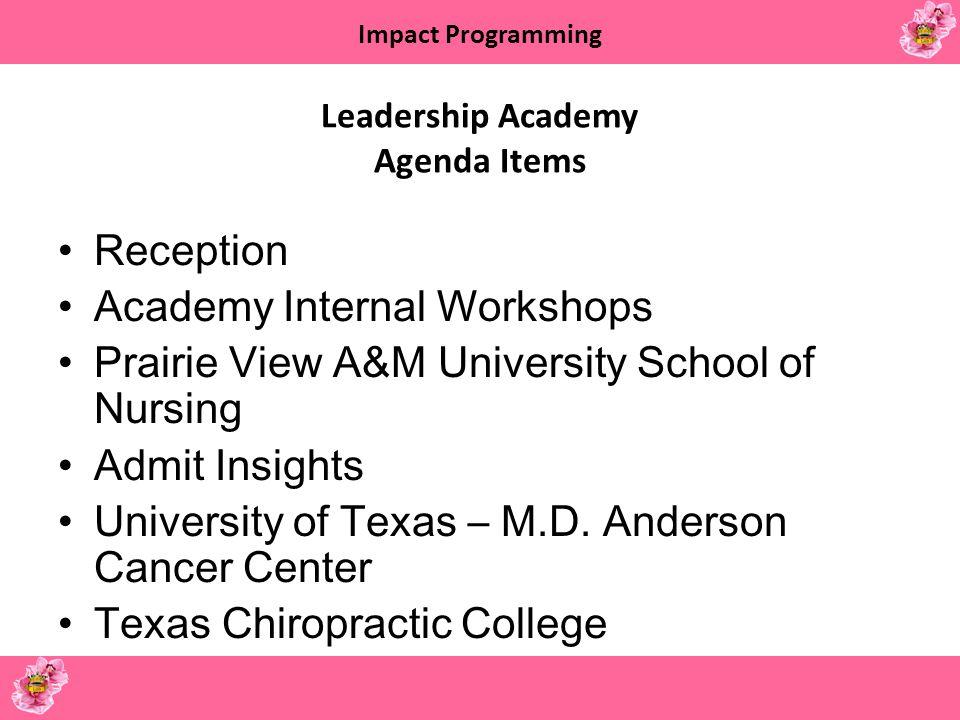 Leadership Academy Agenda Items
