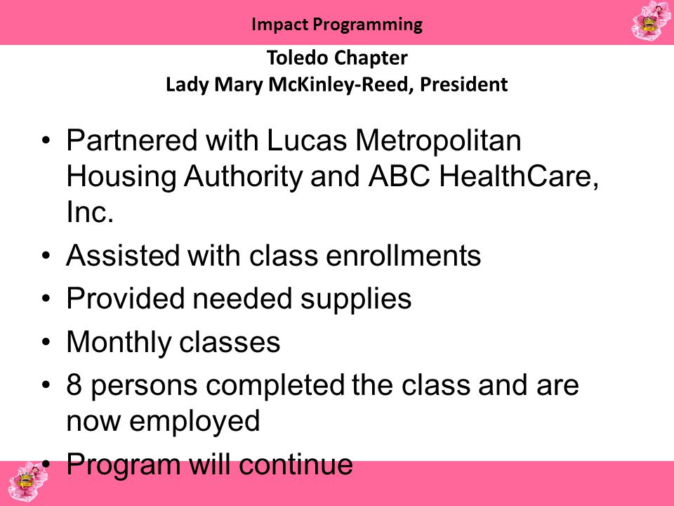 Toledo Chapter Lady Mary McKinley-Reed, President