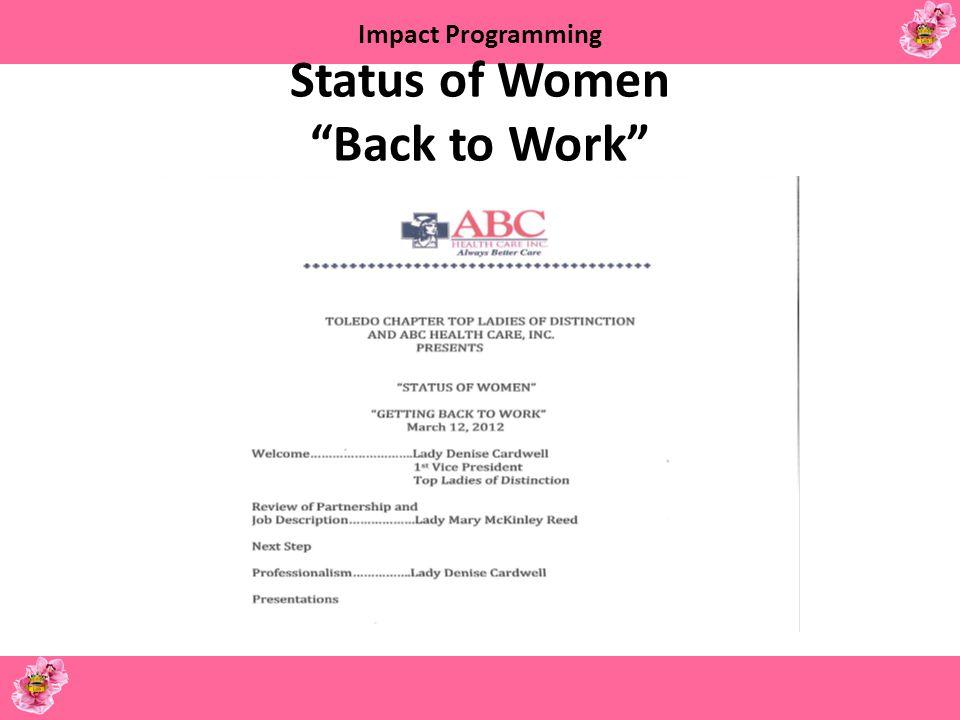 Status of Women Back to Work