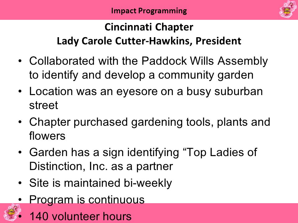 Cincinnati Chapter Lady Carole Cutter-Hawkins, President