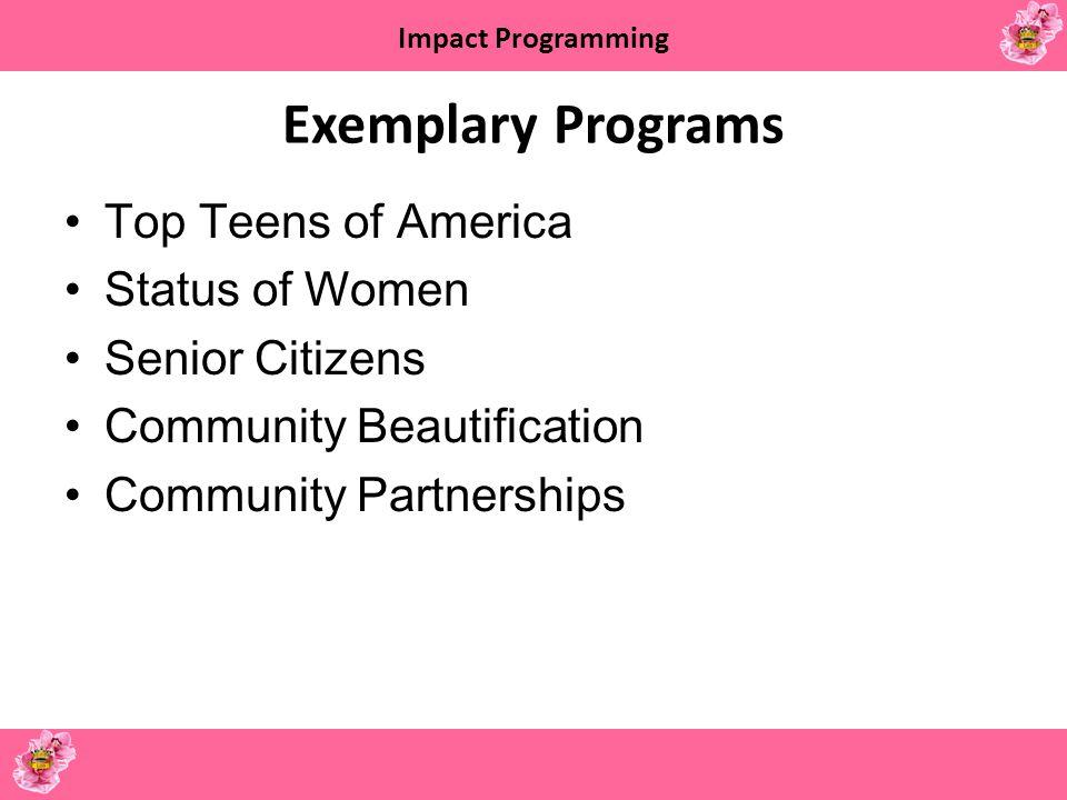 Exemplary Programs Top Teens of America Status of Women