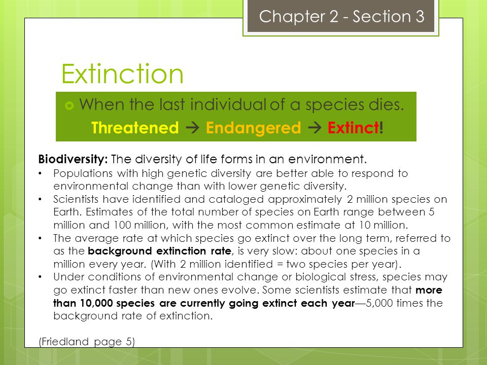 Threatened  Endangered  Extinct!