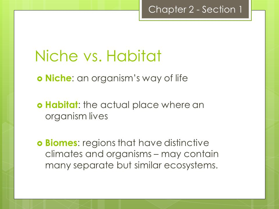 Niche vs. Habitat Chapter 2 - Section 1