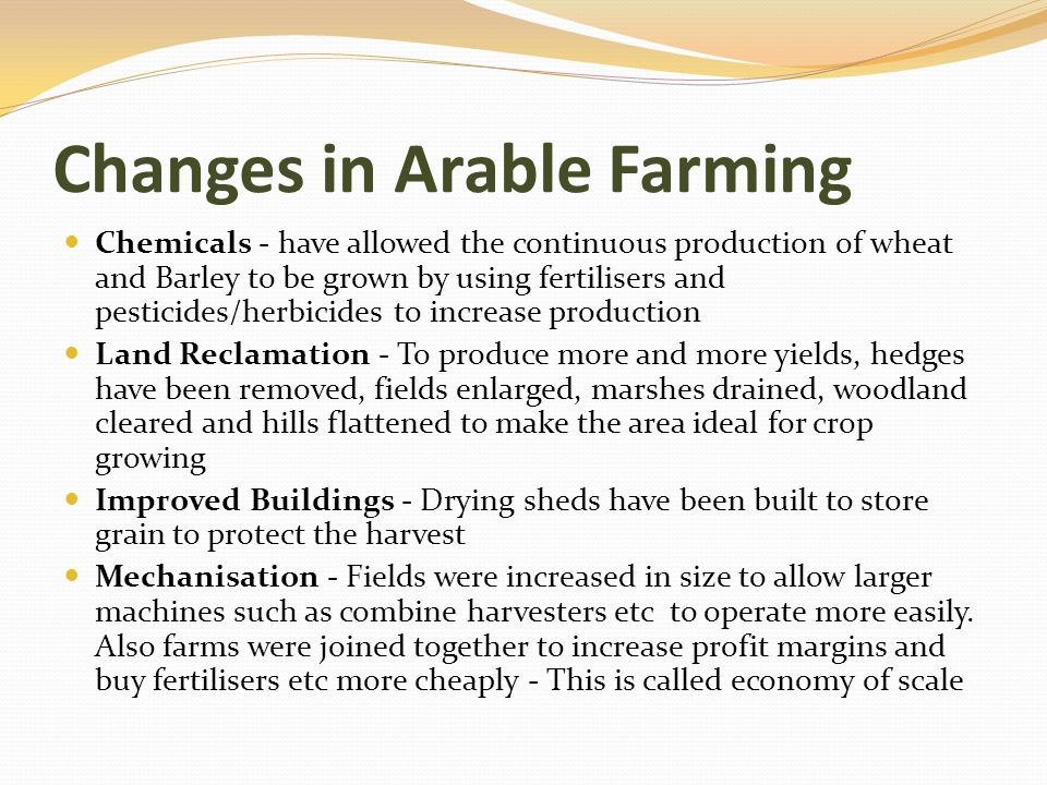 Changes in Arable Farming
