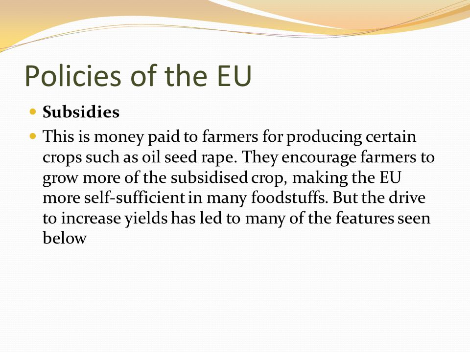 Policies of the EU Subsidies