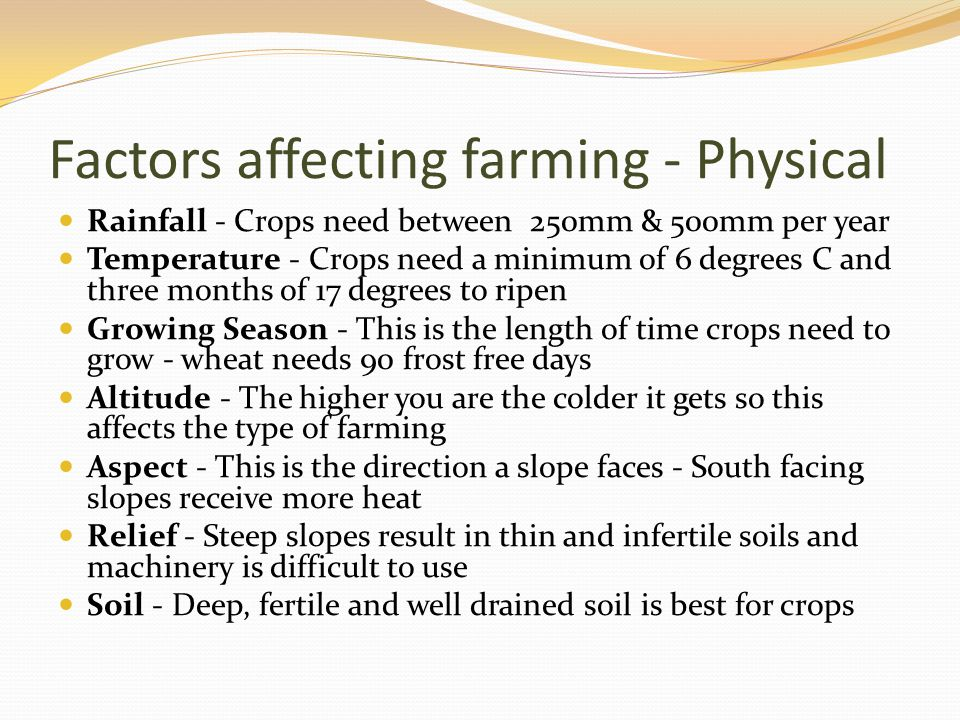 Factors affecting farming - Physical