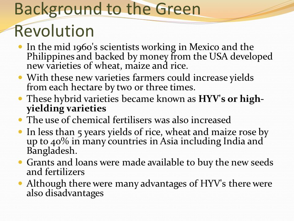 Background to the Green Revolution