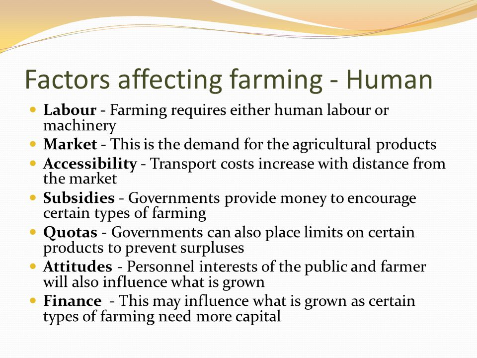 Factors affecting farming - Human