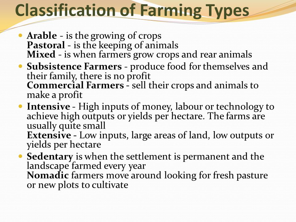 Classification of Farming Types