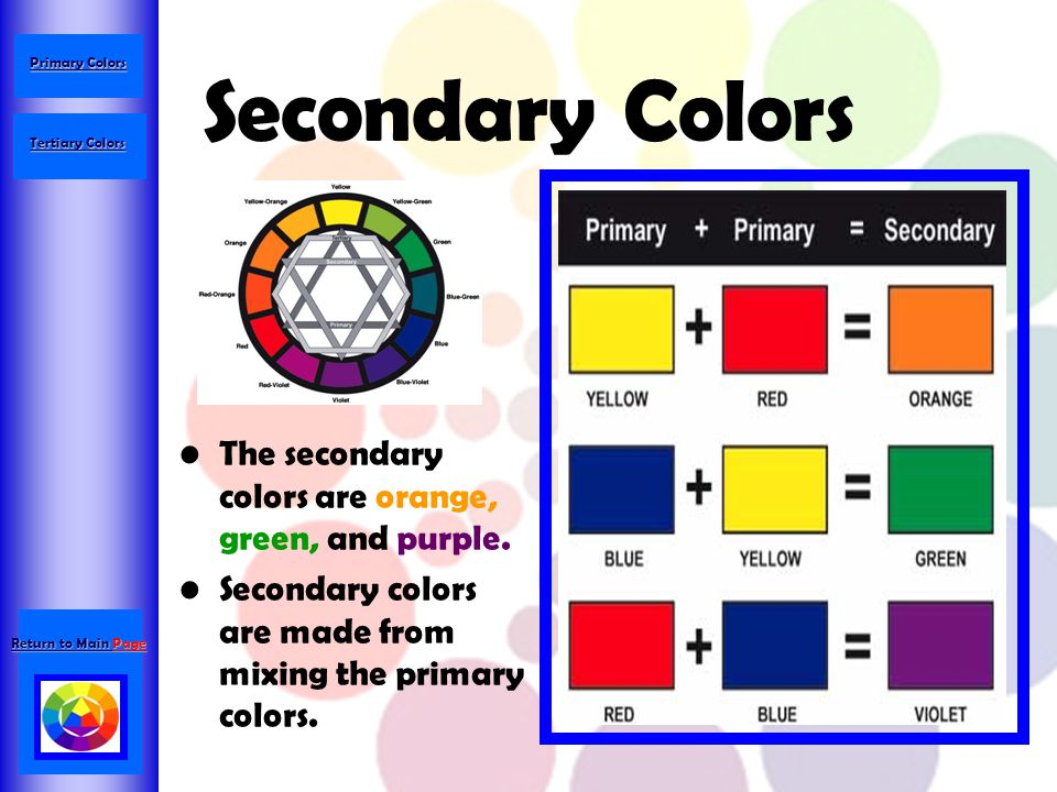 Secondary Colors The secondary colors are orange, green, and purple.