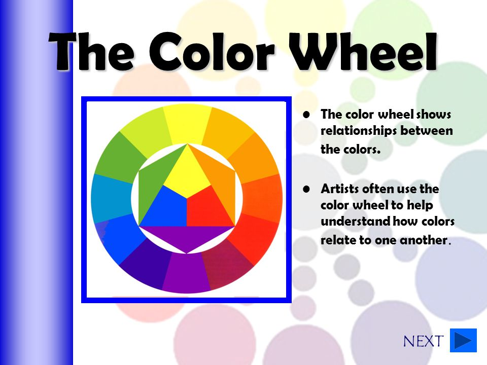 The Color Wheel The color wheel shows relationships between the colors.