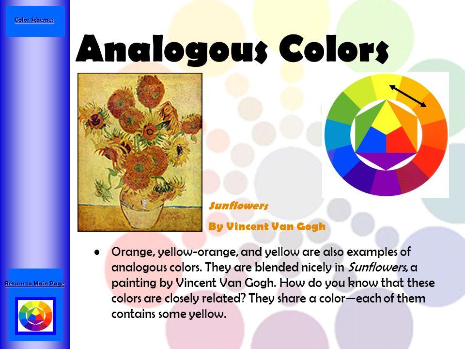 Color Schemes Analogous Colors. Sunflowers. By Vincent Van Gogh.