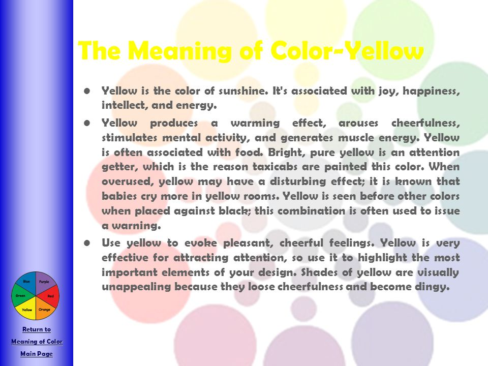 The Meaning of Color-Yellow