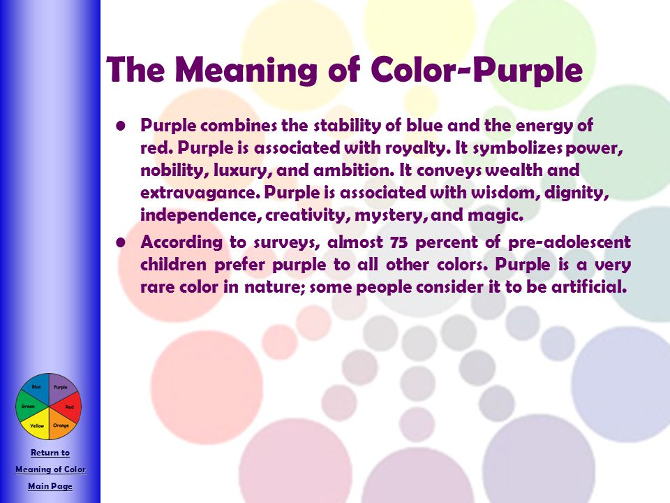 The Meaning of Color-Purple