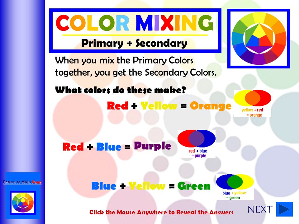 COLOR MIXING Primary + Secondary