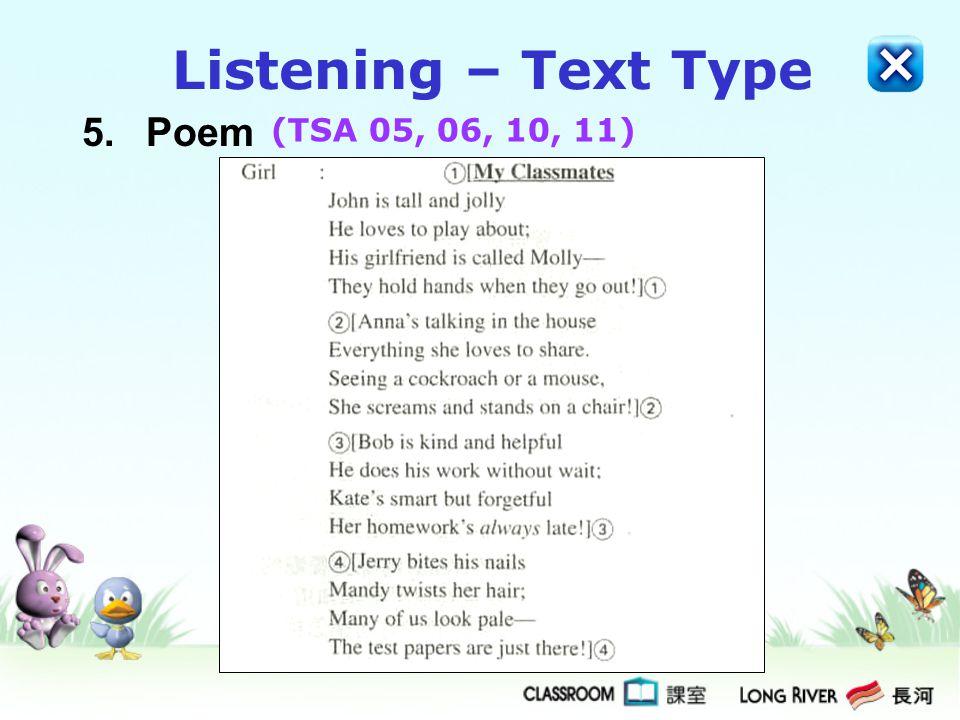 Listening – Text Type 5. Poem (TSA 05, 06, 10, 11)
