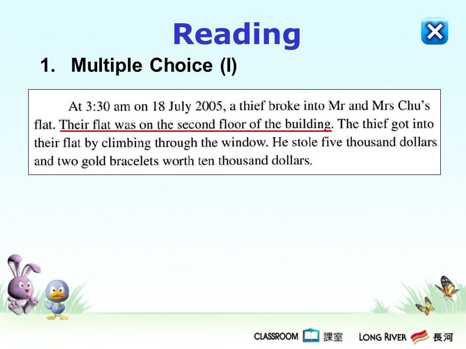 Reading Multiple Choice (I)