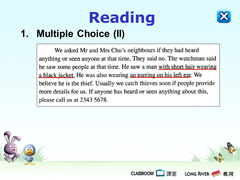 Reading Multiple Choice (II)