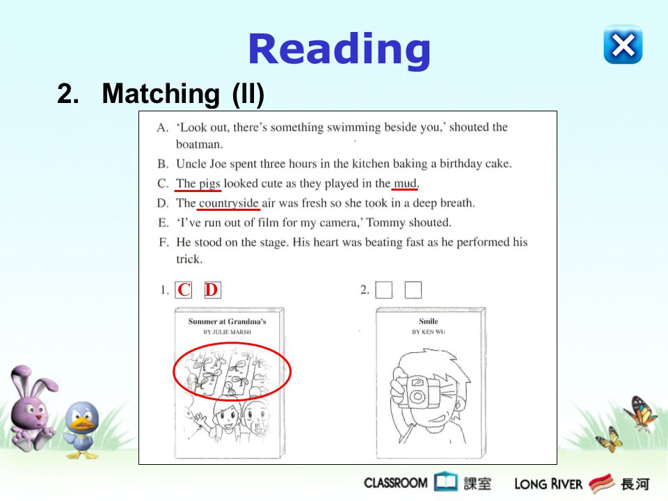 Reading 2. Matching (ll) C D