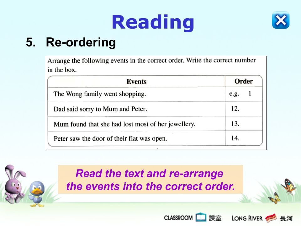 Read the text and re-arrange the events into the correct order.