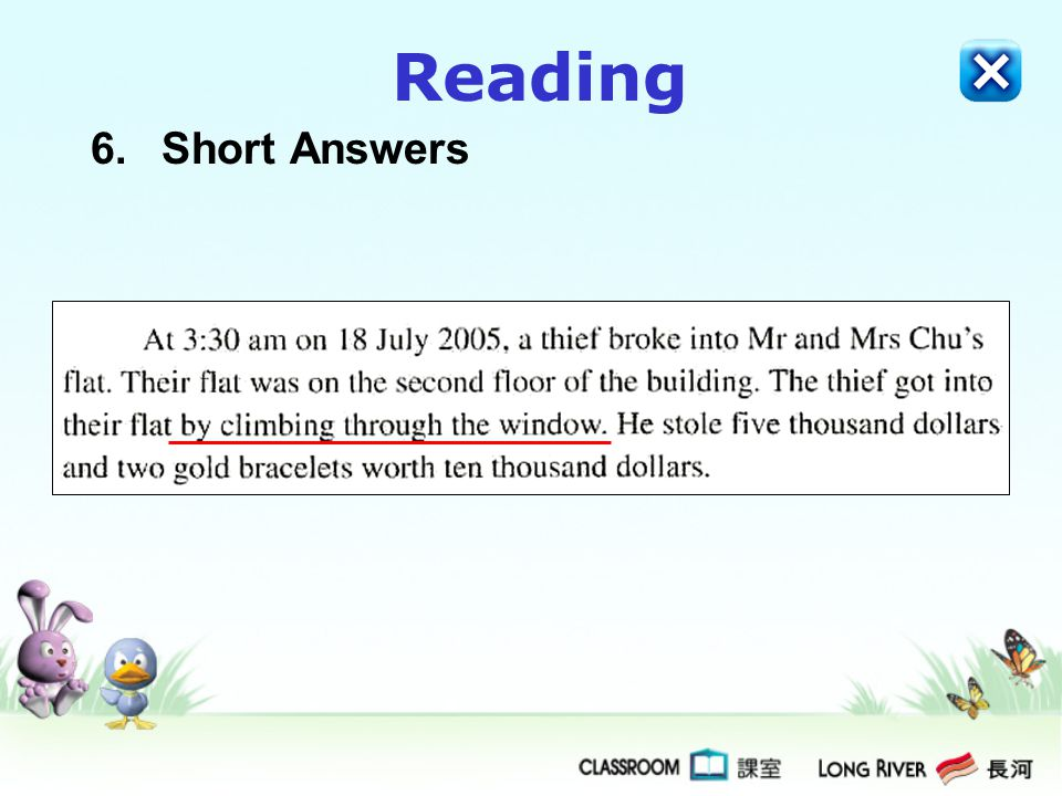 Reading 6. Short Answers