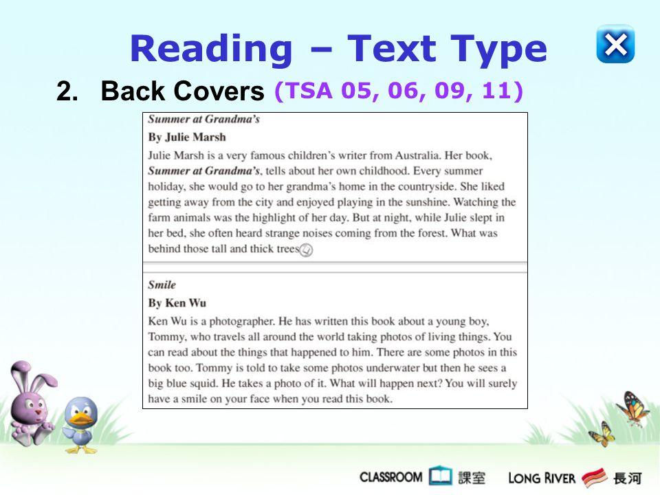 Reading – Text Type 2. Back Covers (TSA 05, 06, 09, 11)