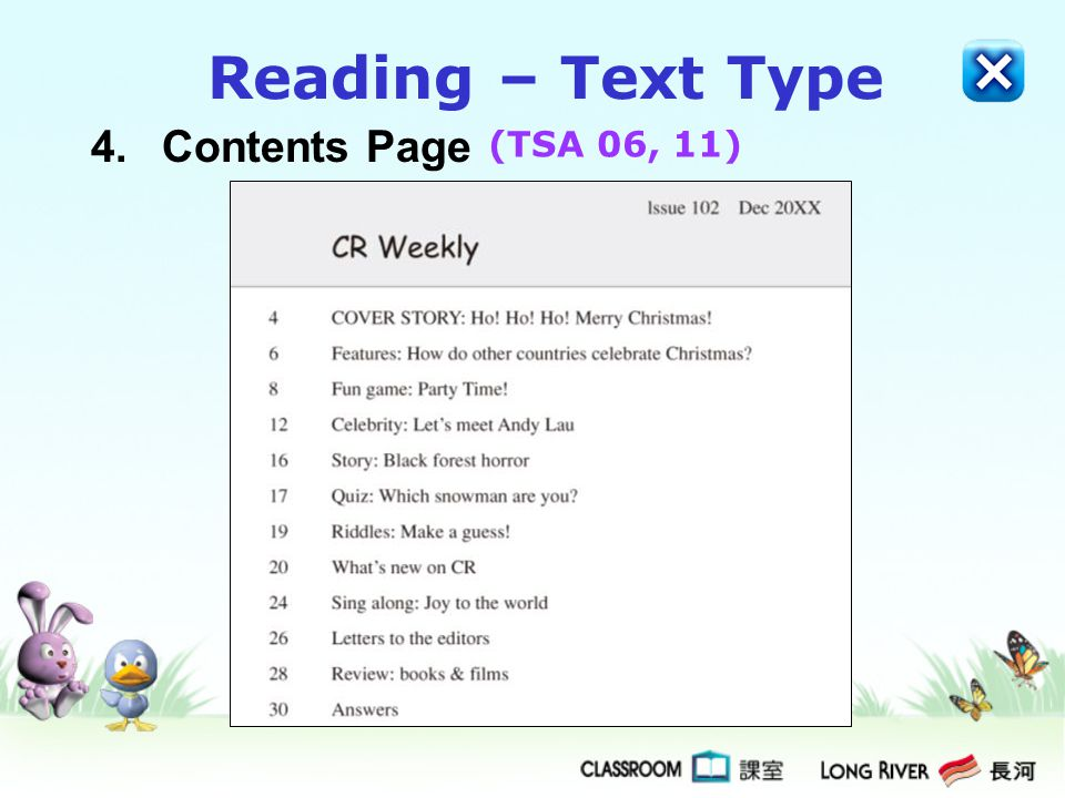 Reading – Text Type 4. Contents Page (TSA 06, 11)