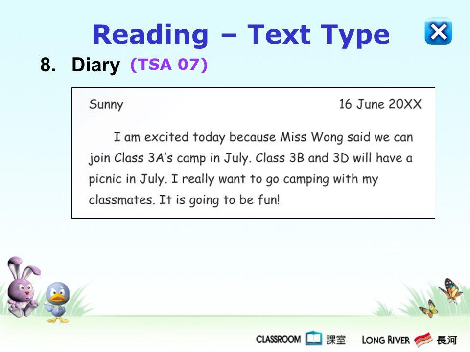 Reading – Text Type 8. Diary (TSA 07)