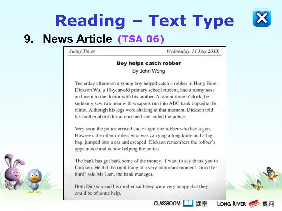 Reading – Text Type 9. News Article (TSA 06)