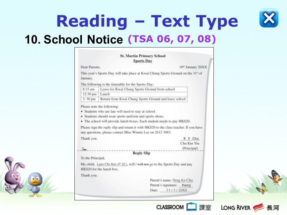 Reading – Text Type 10. School Notice (TSA 06, 07, 08)
