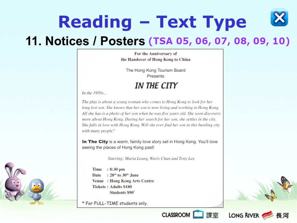 Reading – Text Type 11. Notices / Posters (TSA 05, 06, 07, 08, 09, 10)
